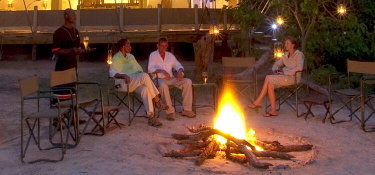 Sitting around a campfire in Africa