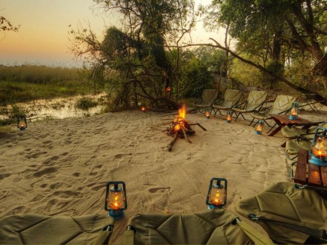 Campfire at sunrise
